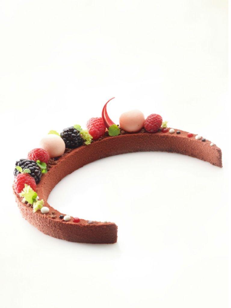 Chocoladebiscuit met frambozen