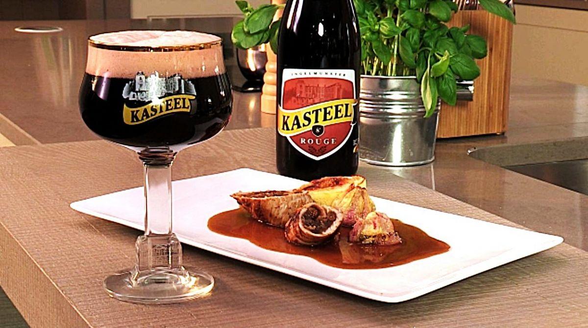 Varkenshaasje met dadels & Kasteelbier Kasteel Rouge