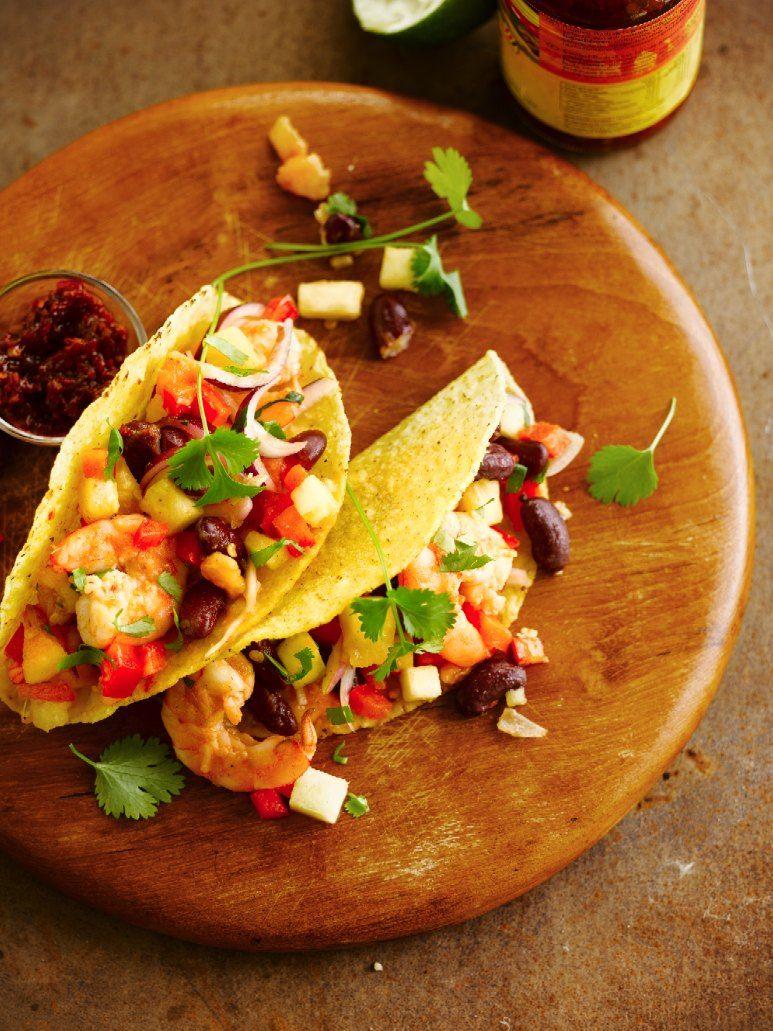 Taco's met gebakken tequila-garnalen