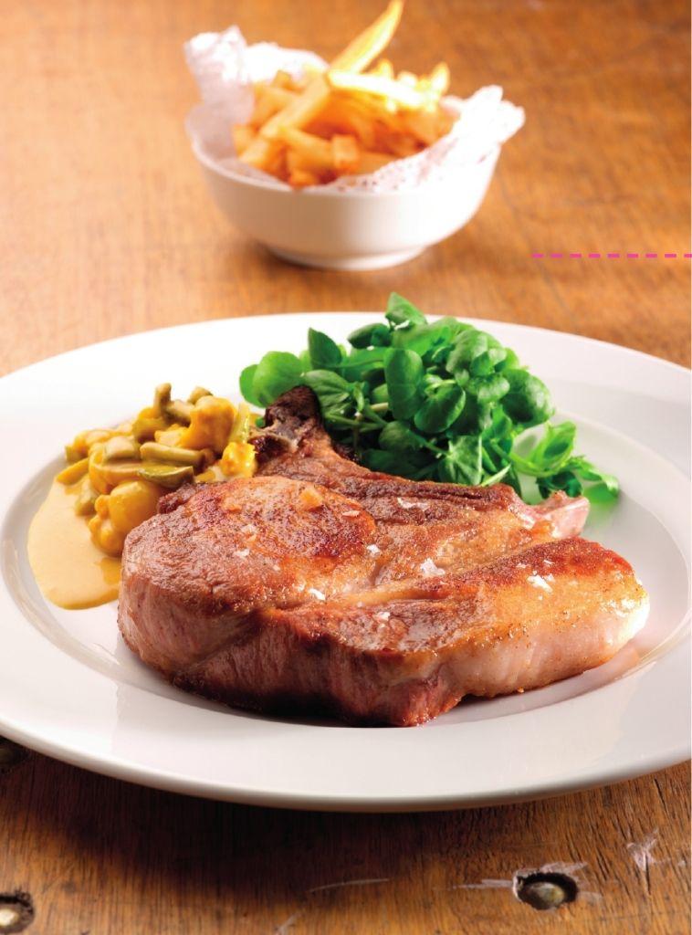 Varkenskotelet met Blackwellsaus en frietjes