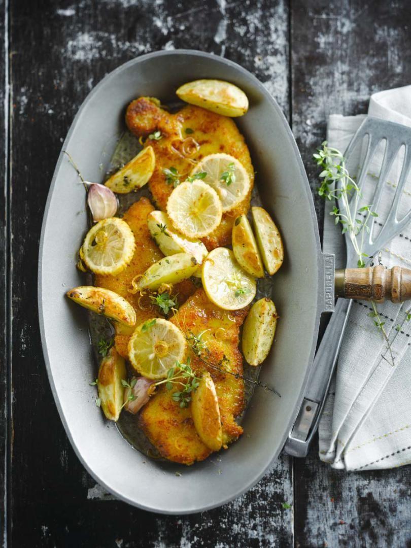 Kalfsschnitzels met citroensaus