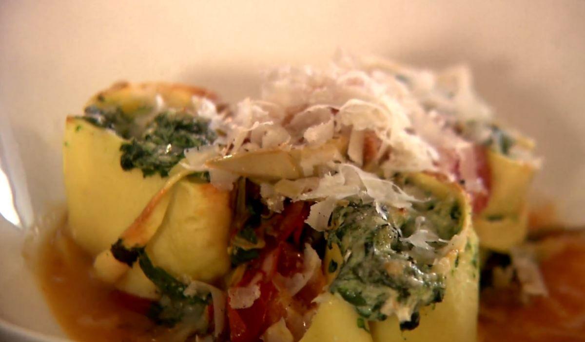 Gevulde pasta met spinazie en ricotta