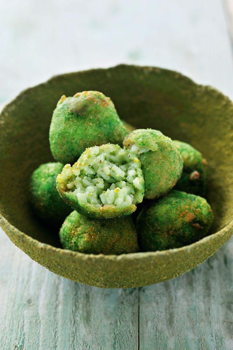 Rijstballetjes met pistache en scampi's