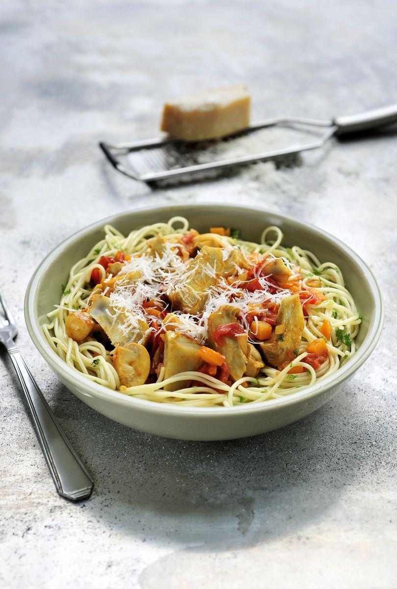 "Artisjok ""en barigoule"" met pasta"