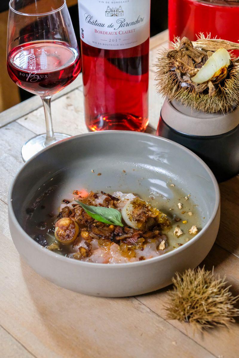 Carpaccio van langoustines met gebrande ui