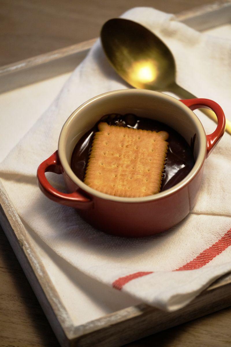 Chocoladeroompap met petit beurre koekjes