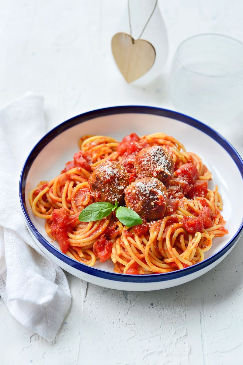 Spaghetti met gehaktballetjes à la Lady en de Vagebond