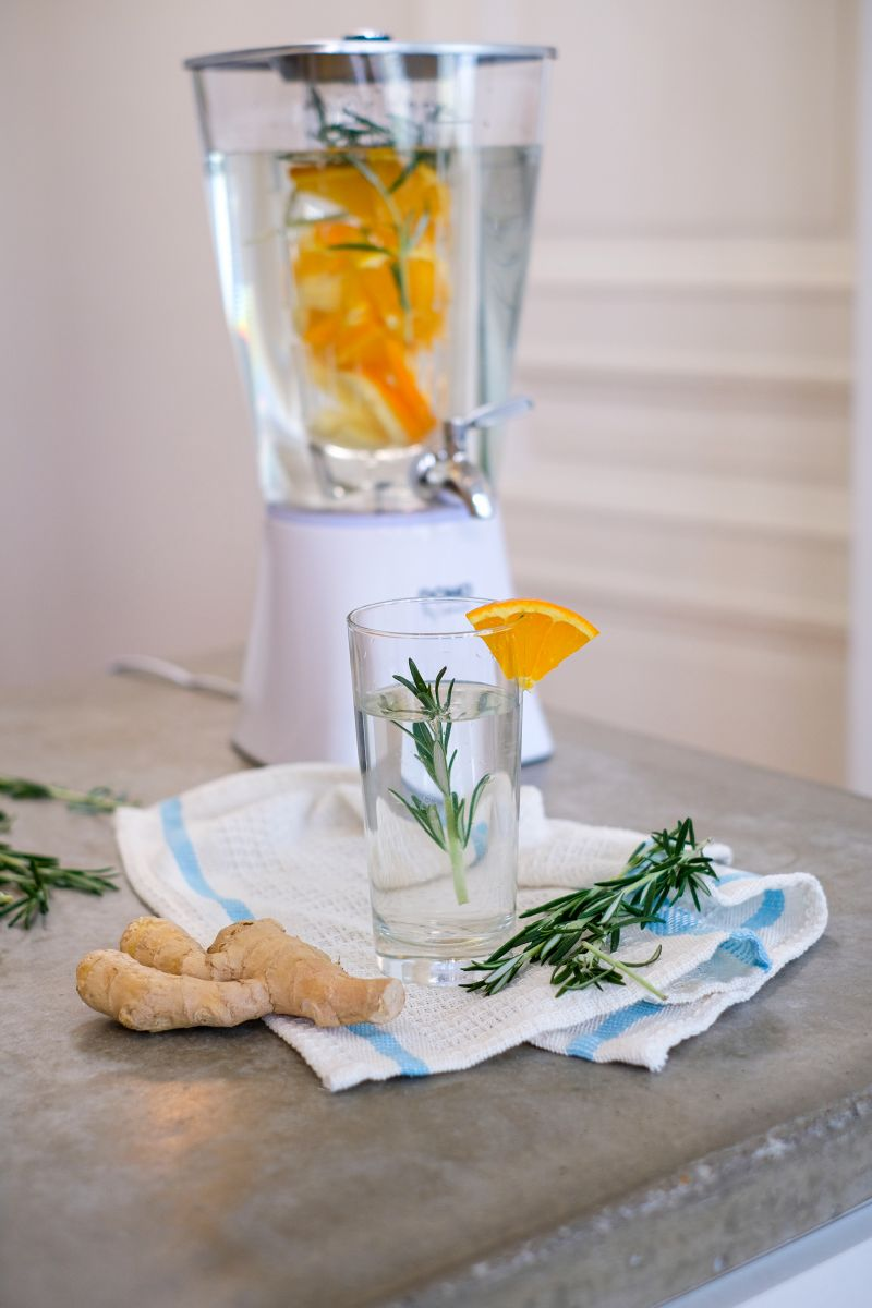Sinaasappel-gember infused water