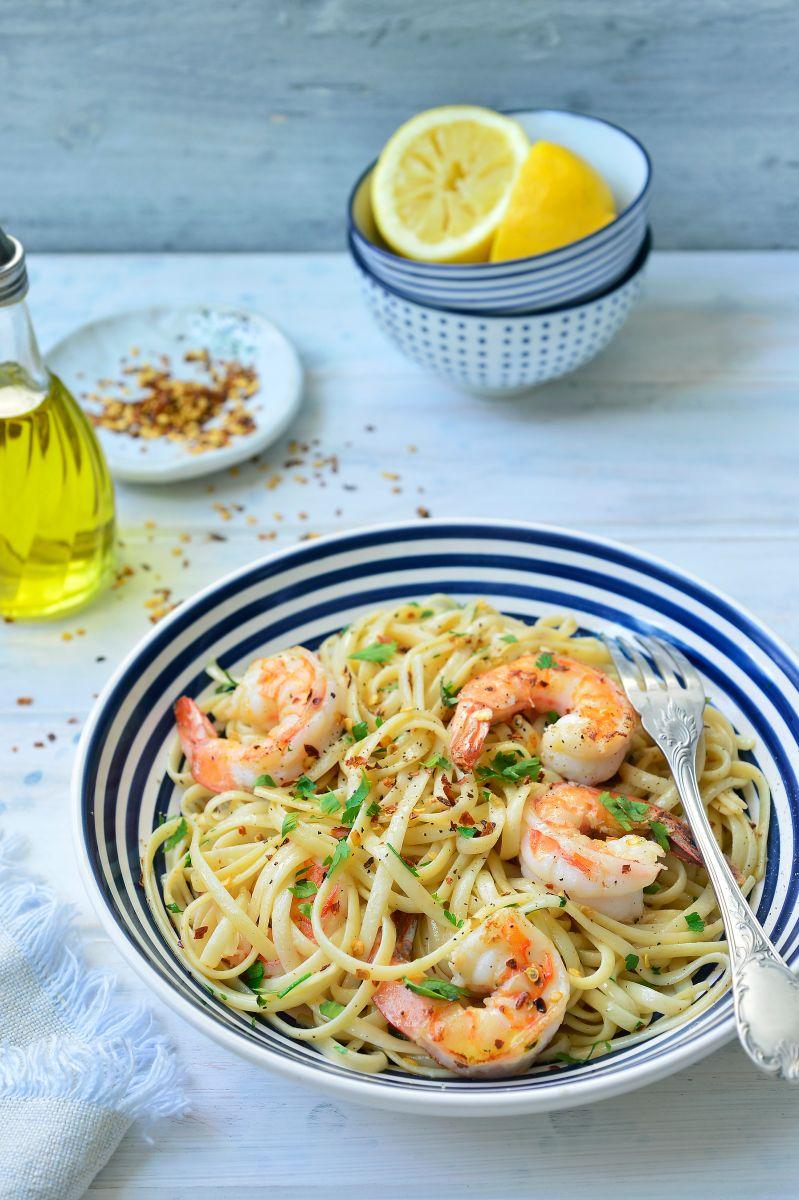 Pasta aglio e olio met scampi