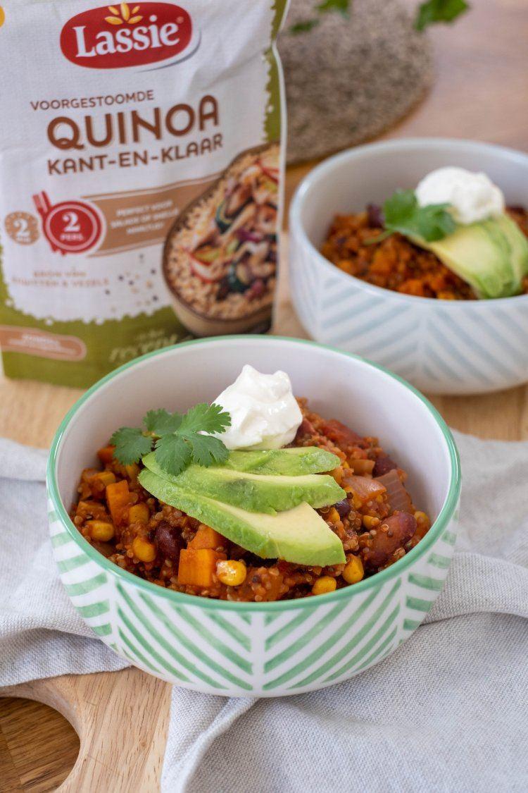 Chili met zoete aardappel en quinoa
