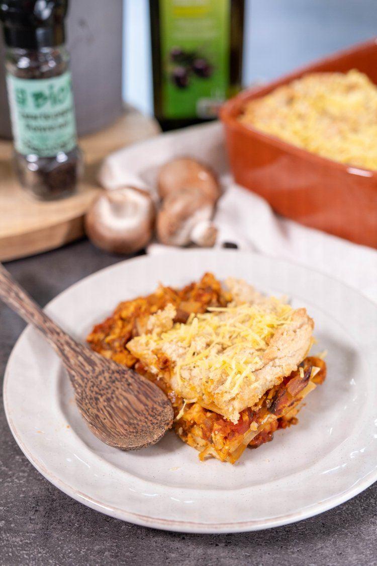 Vegan lasagne met tempé en champignons