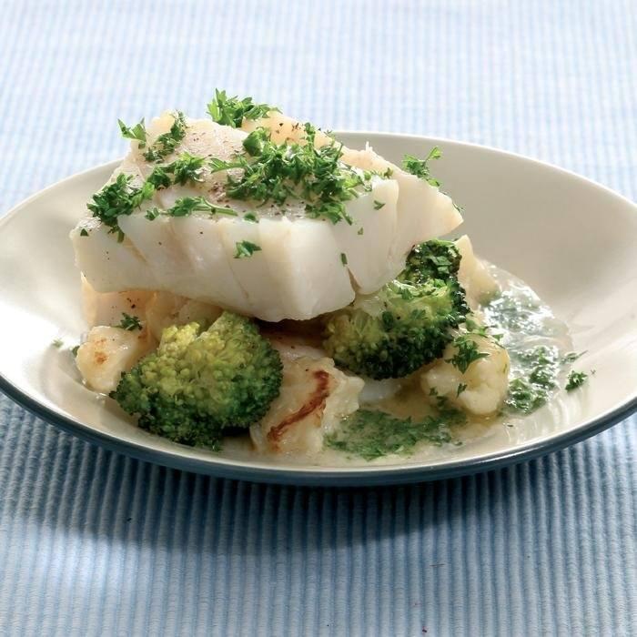 Kabeljauw met bloemkool en broccoli