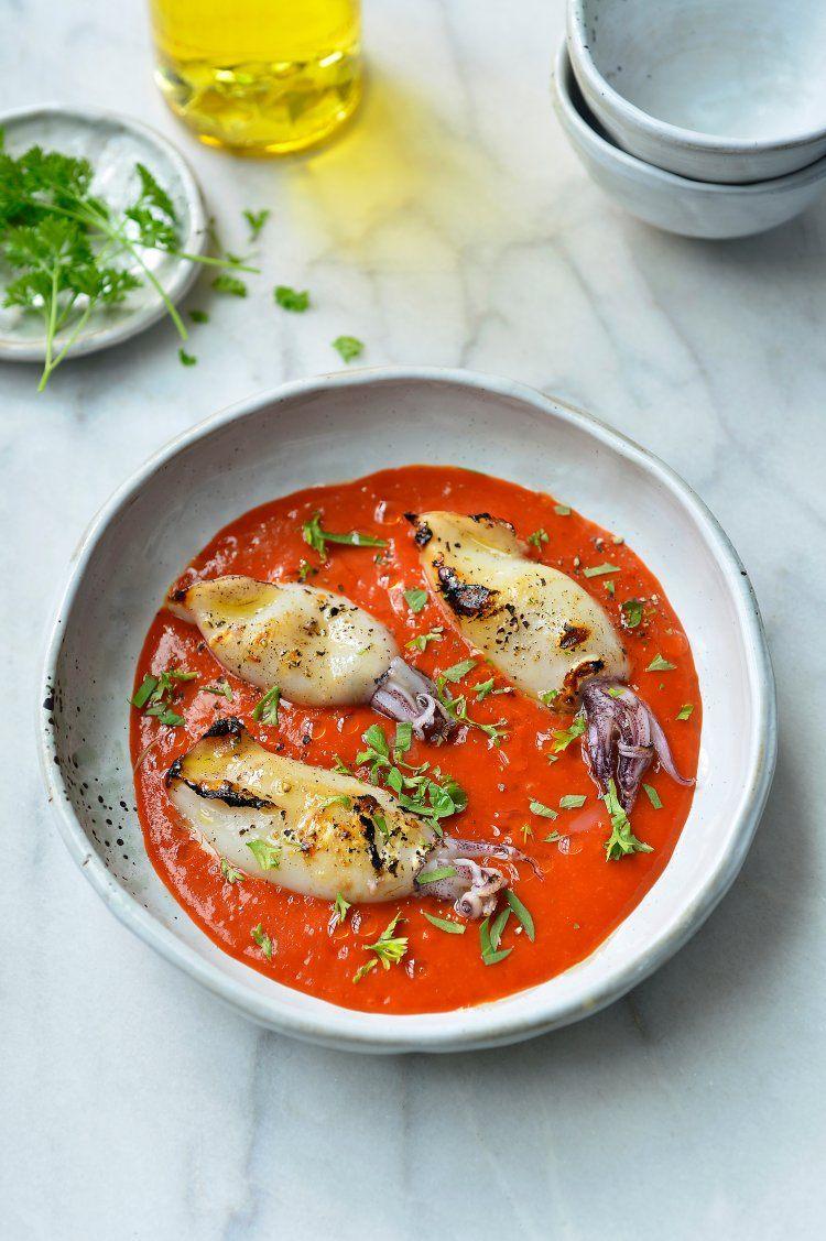 Gegrilde sepia met coulis van tomaat