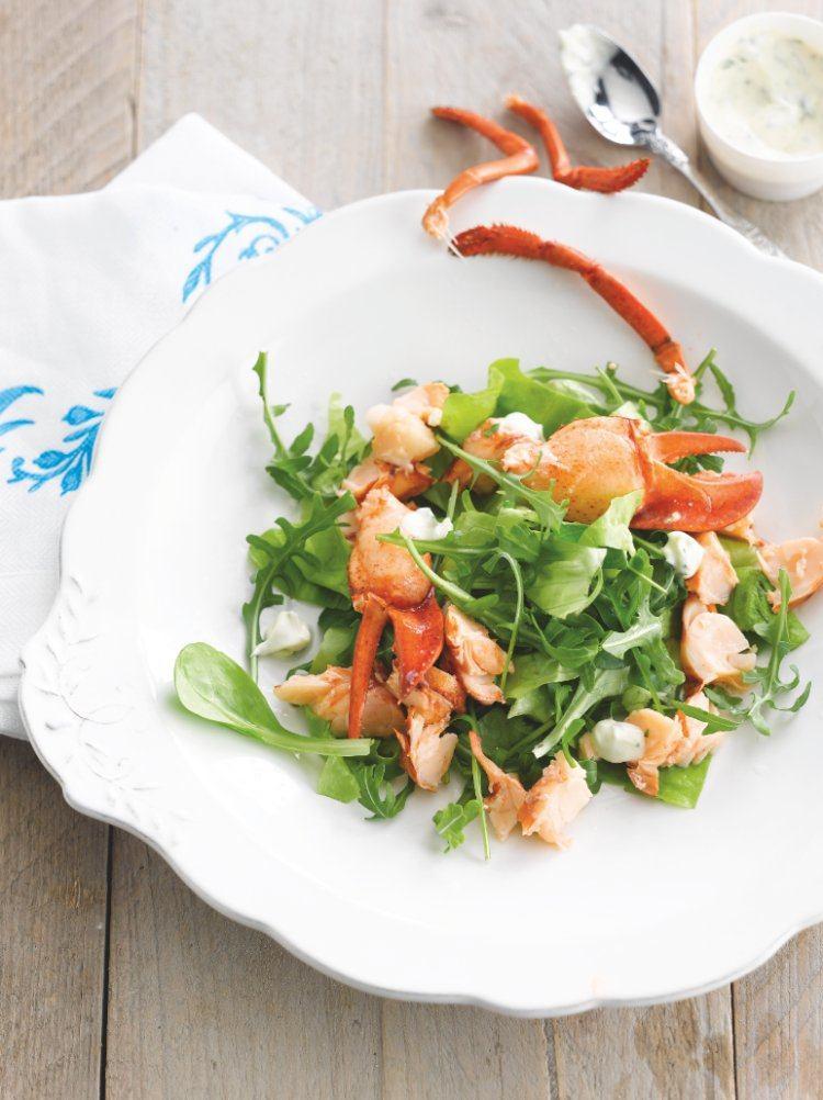 Groene salade met kreeft