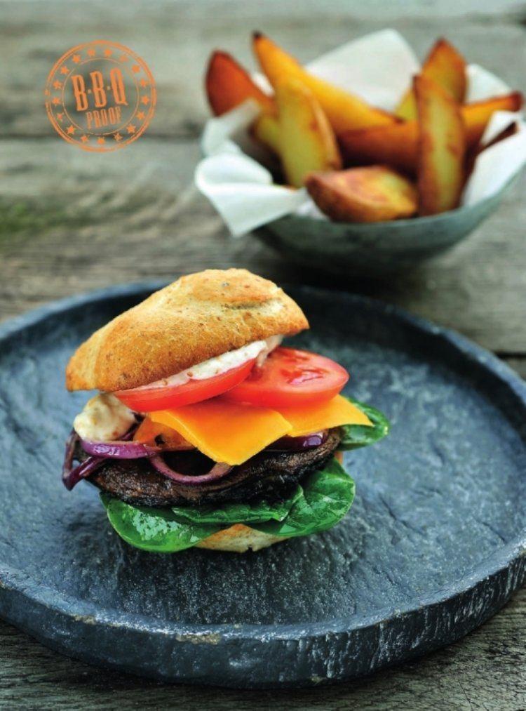 Veggie-hamburger met portobello paddenstoelen en pittige sesammayonaise