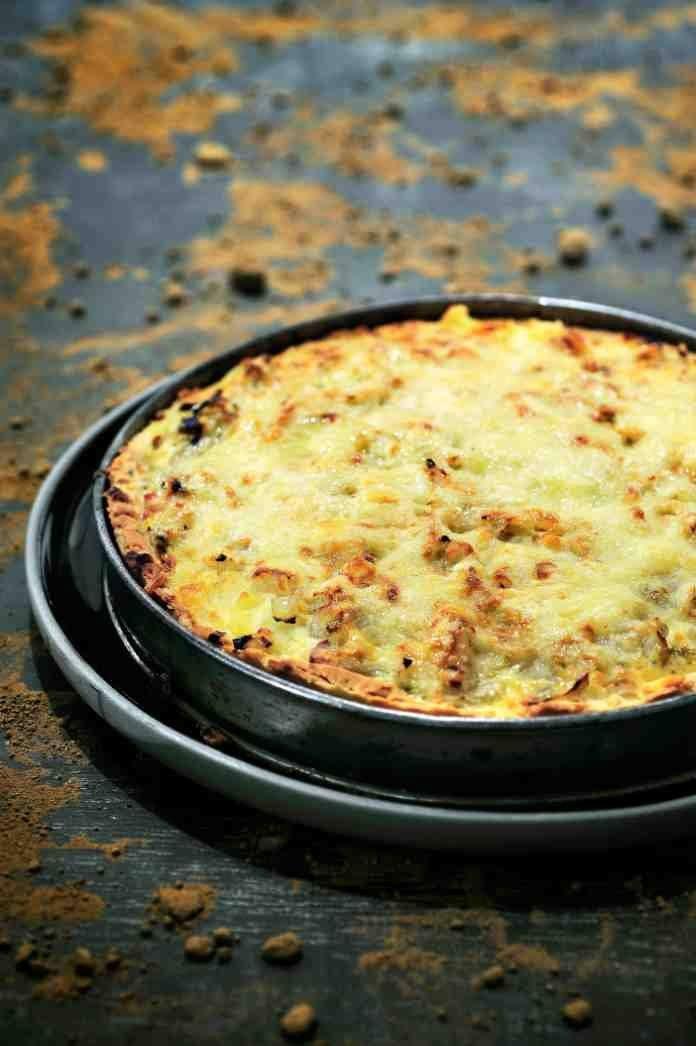 Quiche met witloof, aardappelen en spek