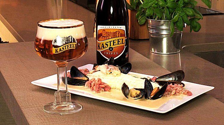 Zeetong met ostendaisesaus, spinazie & Kasteelbier Kasteel Tripel