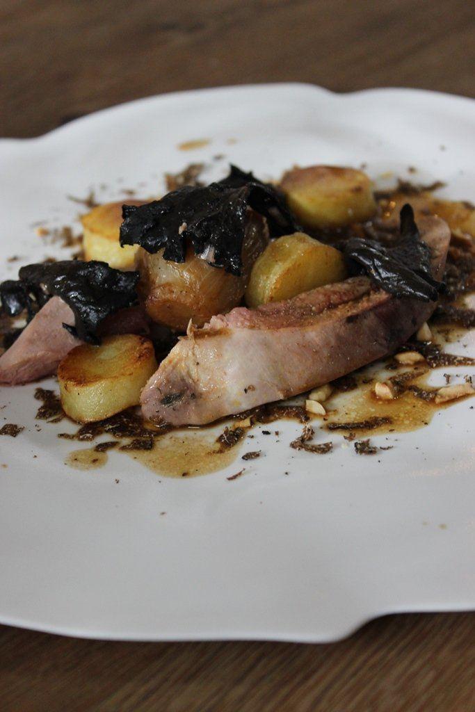 Fazant met champignons, witloof en truffel