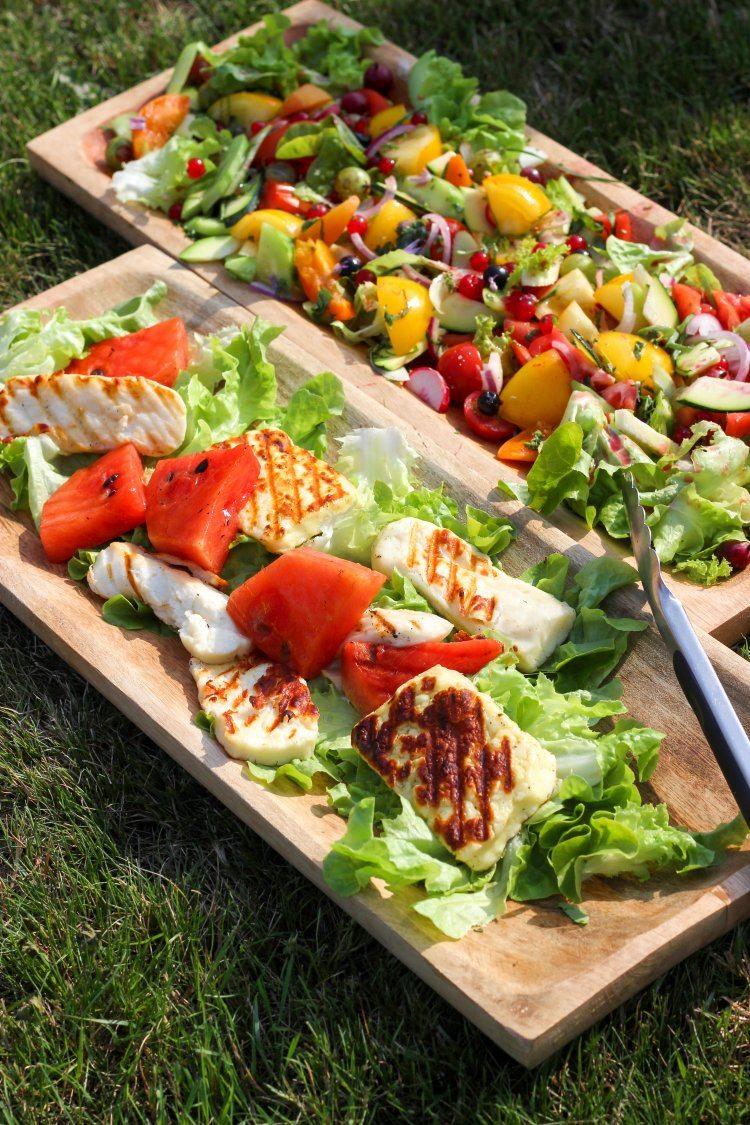 Salade met watermeloen en halloumi