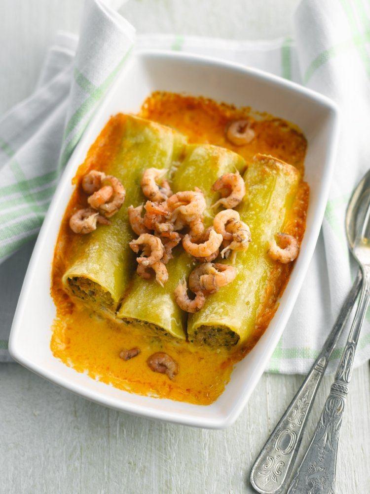 Cannelloni met garnalen en bisque