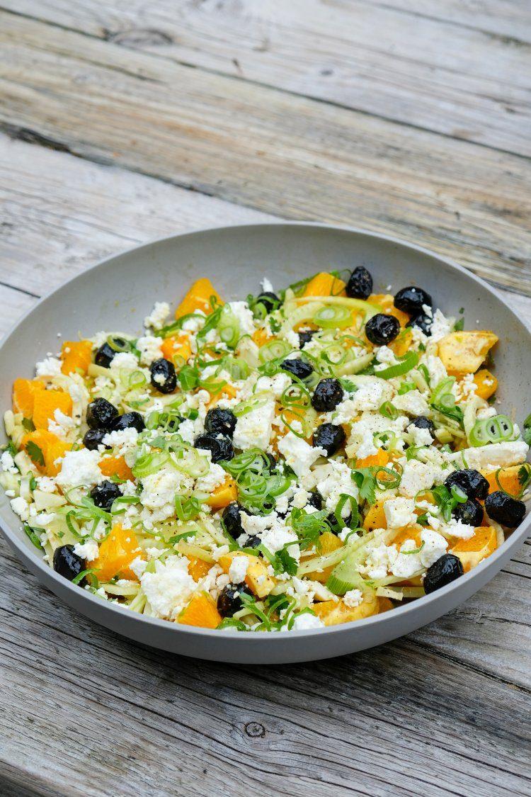 Salade van sinaasappel, venkel, olijven en feta