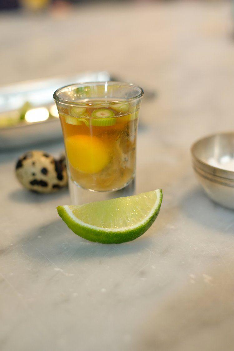 Oester-shots met tequila